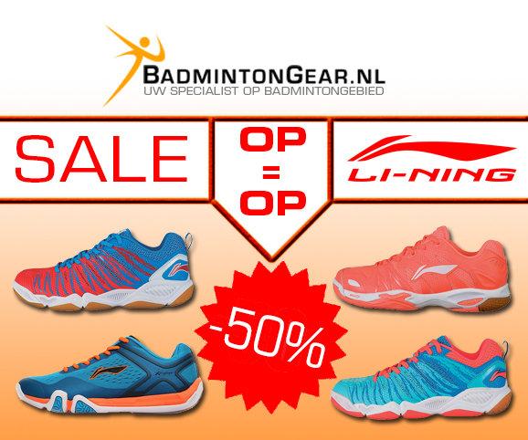 Nu alle badmintonschoenen van Li-Ning met 50% korting. Wacht niet te lang, want OP=OP