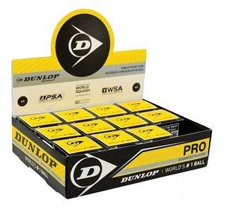 Dunlop Pro Squashbal dubbel geel 12-pack